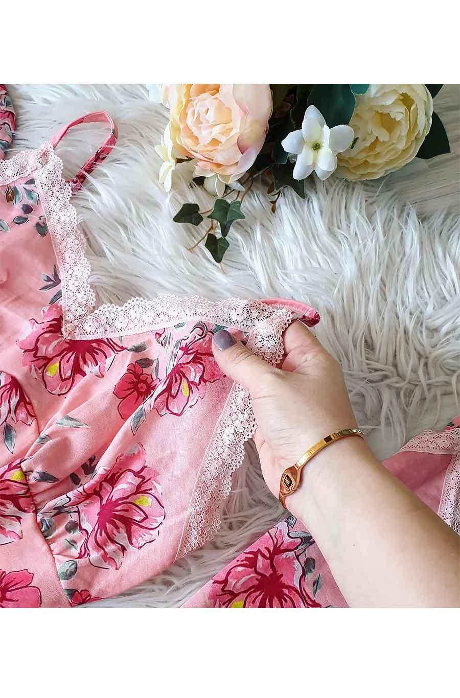 ÇeyizeDairHerşey - Pembe çiçekli sabahlıklı şortlu 5 li süprem penye pijama seti 5193 (1)