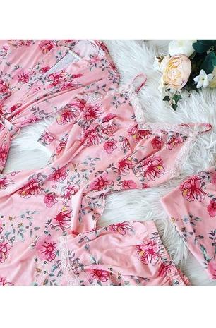 Somon çiçekli sabahlıklı şortlu 5 li süprem penye pijama seti - Thumbnail