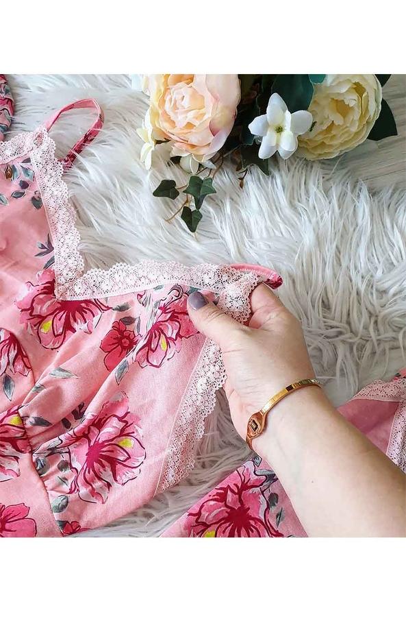 Somon çiçekli sabahlıklı şortlu 5 li süprem penye pijama seti