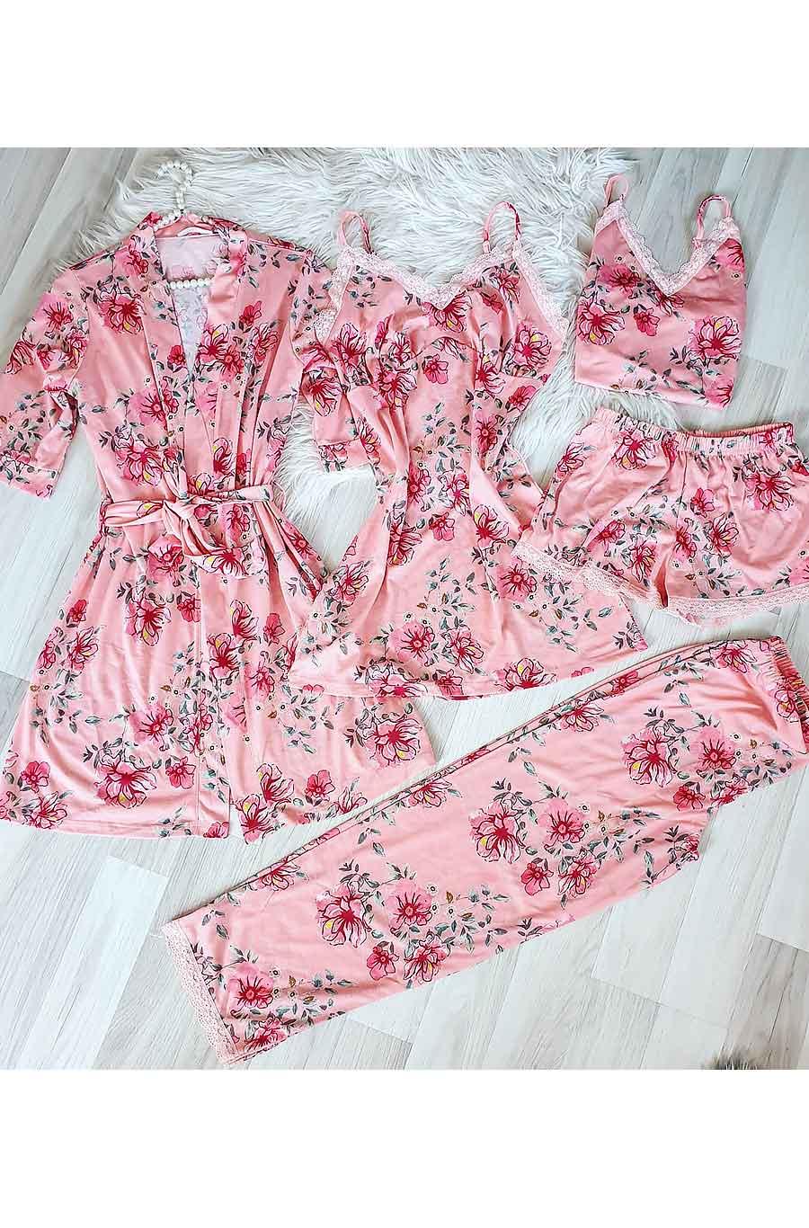 ÇeyizeDairHerşey - Somon çiçekli sabahlıklı şortlu 5 li süprem penye pijama seti
