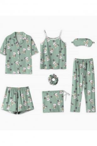 ÇeyizeDairHerşey - 7 li yeşil tavşan desenli penye pijama seti 5698