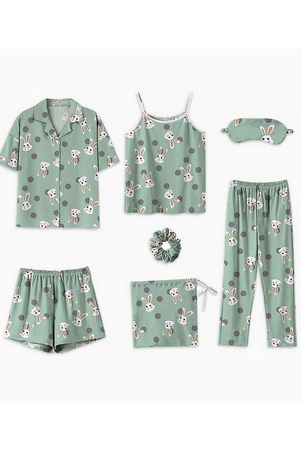 7 li yeşil tavşan desenli penye pijama seti 5698