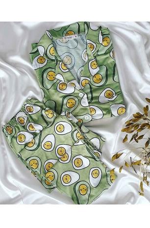 ÇeyizeDairHerşey - Avakado desenli uzun kollu yeşil penye pijama takımı 5207
