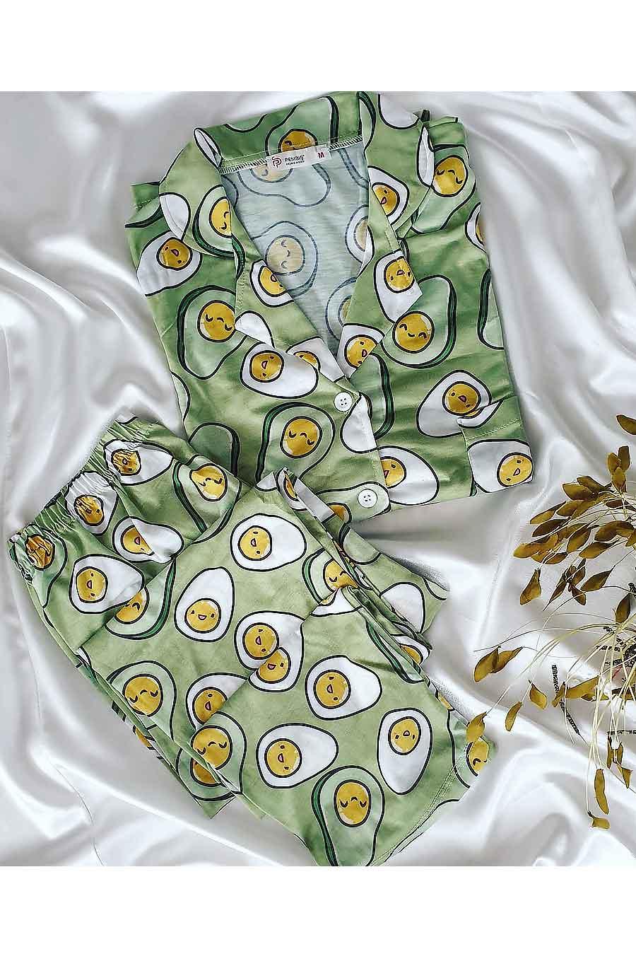 ÇeyizeDairHerşey - Avakado desenli uzun kollu yeşil penye pijama takımı