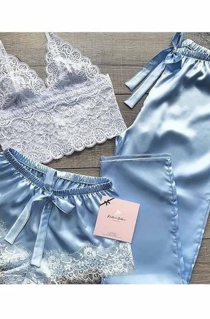 ÇeyizeDairHerşey - Dantel büstiyerli mavi saten şortlu pijama takımı 5217