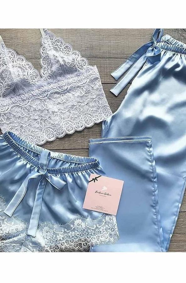 Dantel büstiyerli mavi saten şortlu pijama takımı 5217