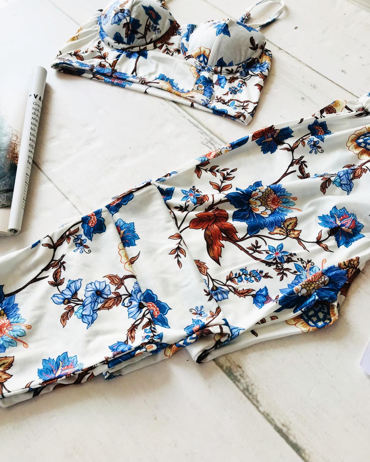 ÇeyizeDairHerşey - Çiçek desenli büstiyerli penye pijama takımı 5753 (1)