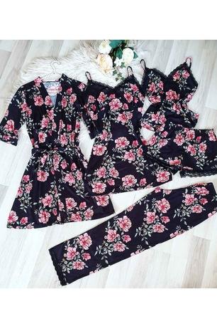 ÇeyizeDairHerşey - Siyah çiçekli sabahlıklı şortlu 5 li süprem penye pijama seti 5194