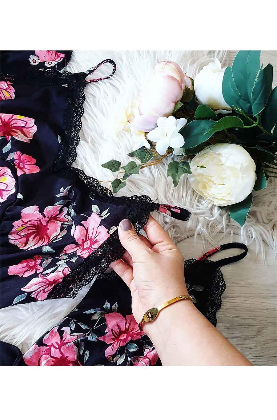 ÇeyizeDairHerşey - Siyah çiçekli sabahlıklı şortlu 5 li süprem penye pijama seti 5194 (1)