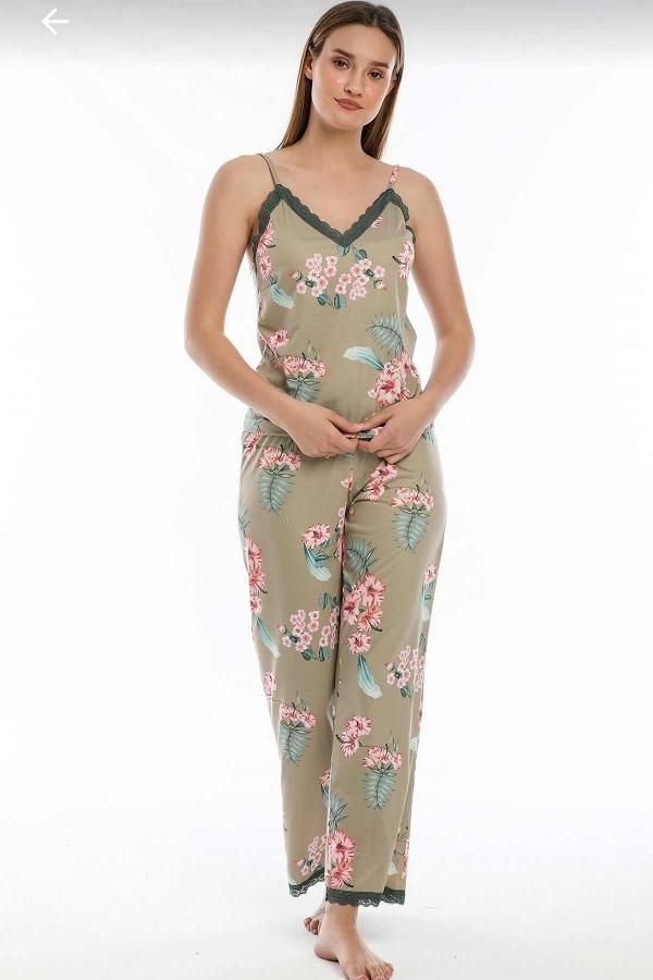 Yeşil çiçekli sabahlıklı şortlu 5 li süprem penye pijama seti 5702