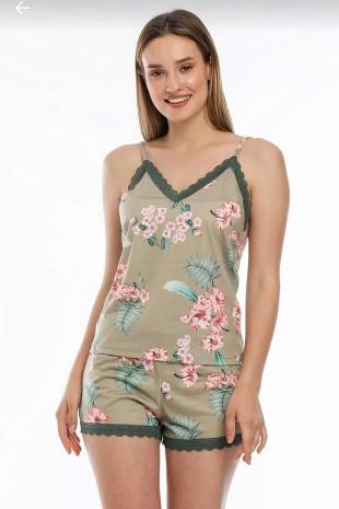Yeşil çiçekli sabahlıklı şortlu 5 li süprem penye pijama seti 5702 - Thumbnail
