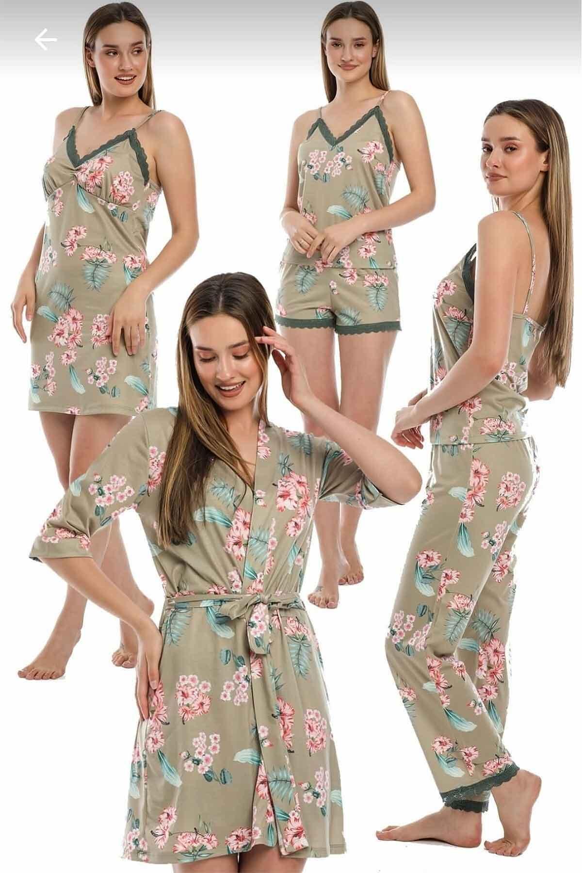 ÇeyizeDairHerşey - Yeşil çiçekli sabahlıklı şortlu 5 li süprem penye pijama seti 5702