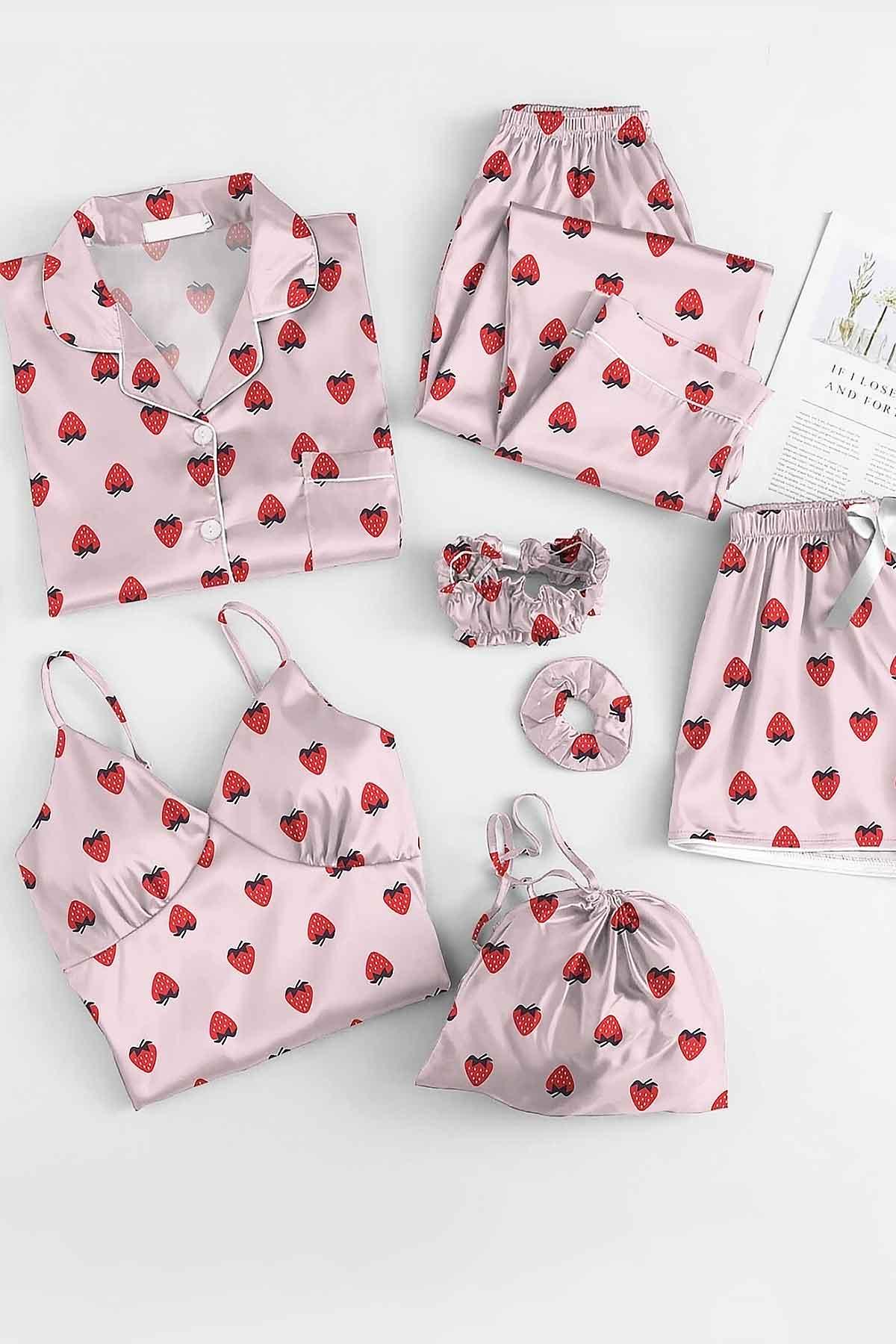ÇeyizeDairHerşey - Çilek desenli saten sabahlıklı şortlu 7 li pijama seti