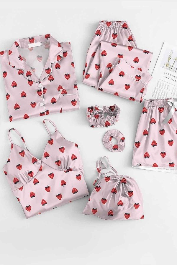 Çilek desenli saten sabahlıklı şortlu 7 li pijama seti