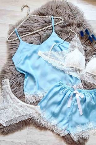 ÇeyizeDairHerşey - Mavi ice blue 4 lü şort ve sütyen set