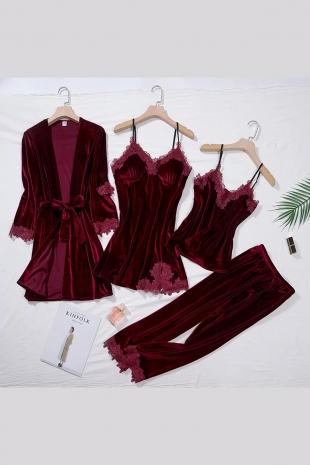 ÇeyizeDairHerşey - 4 Lü Bordo Güpür Detaylı Kadife Pijama Takımı 5173