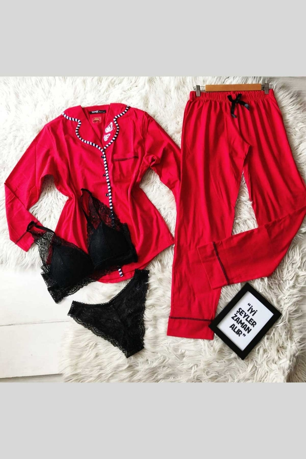 Kırmızı uzun kollu önden düğmeli pijama ve sütyen külot takımı