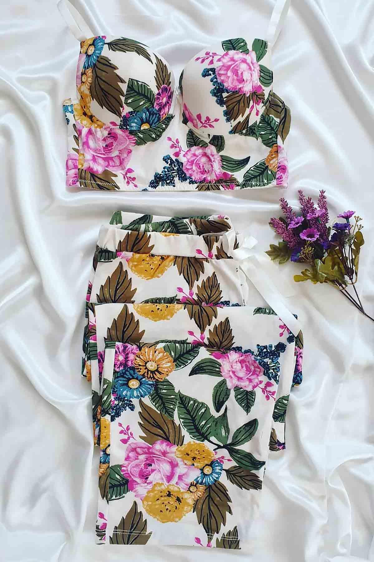ÇeyizeDairHerşey - Mor çiçek desenli büstiyerli pijama takımı (1)