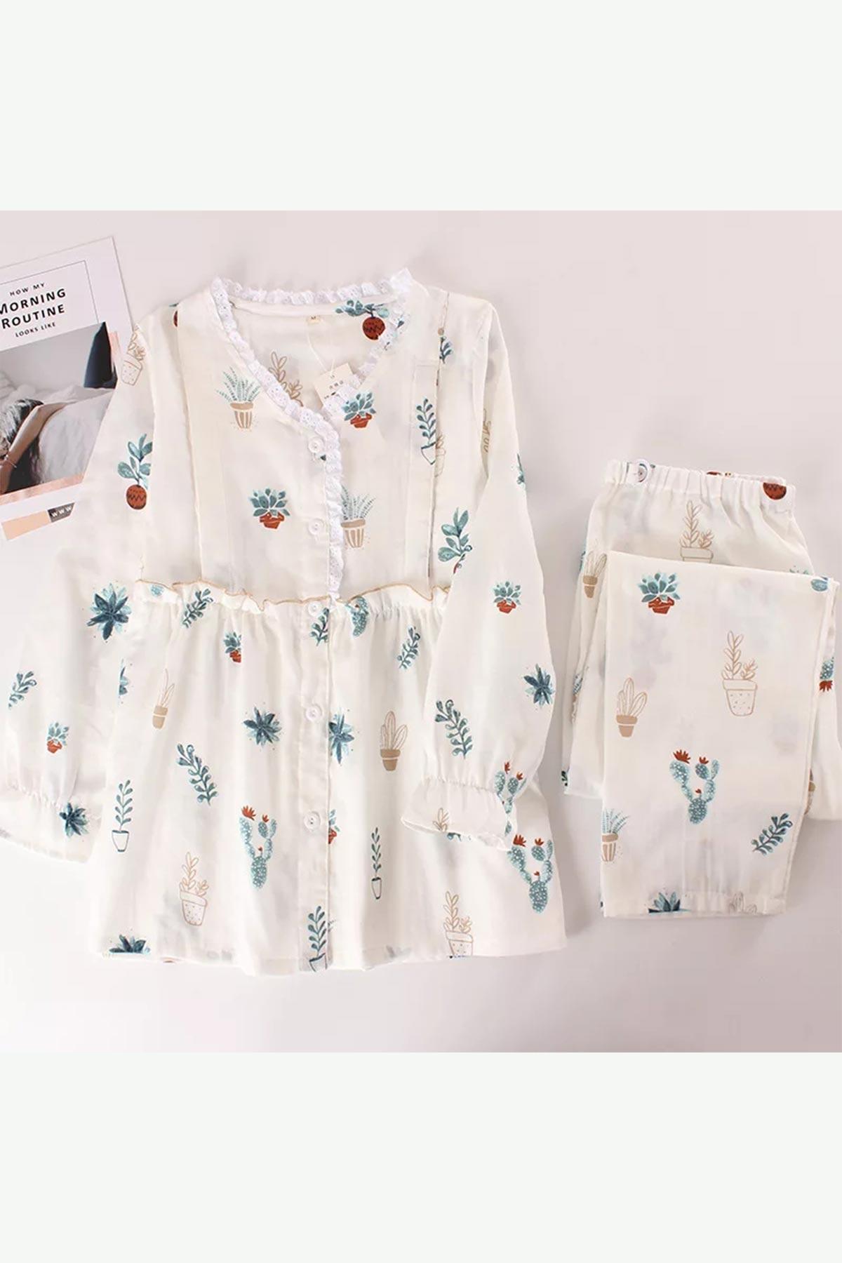 ÇeyizeDairHerşey - Özel tasarım vintage önden düğmeli çiçek desenli bayan pijama takımı 5825