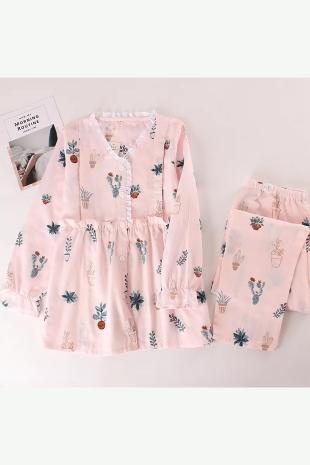 ÇeyizeDairHerşey - Özel tasarım vintage önden düğmeli çiçek desenli bayan pijama takımı 5826