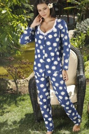 ÇeyizeDairHerşey - Papatya desenli uzun kollu önden düğmeli pijama takımı 5775