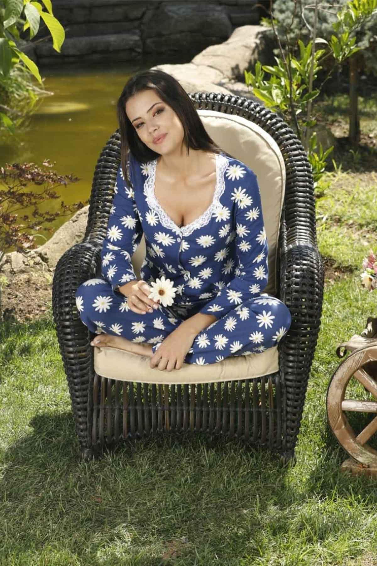 ÇeyizeDairHerşey - Papatya desenli uzun kollu önden düğmeli pijama takımı 5775 (1)