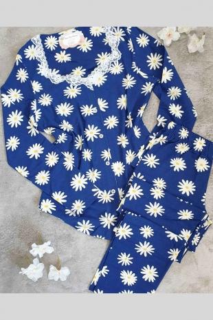 Papatya desenli uzun kollu önden düğmeli pijama takımı 5775 - Thumbnail
