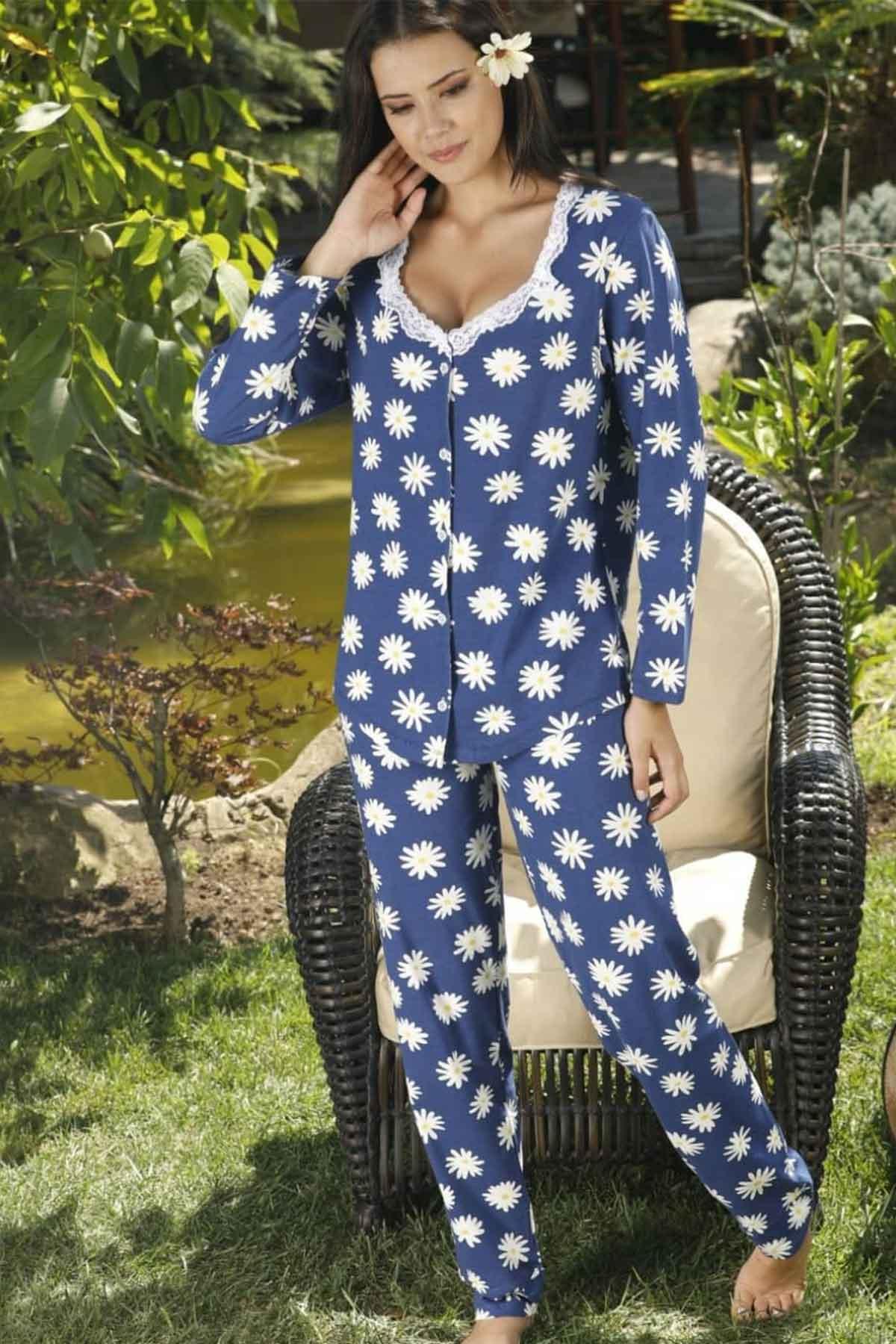 ÇeyizeDairHerşey - Papatya desenli uzun kollu önden düğmeli pijama takımı
