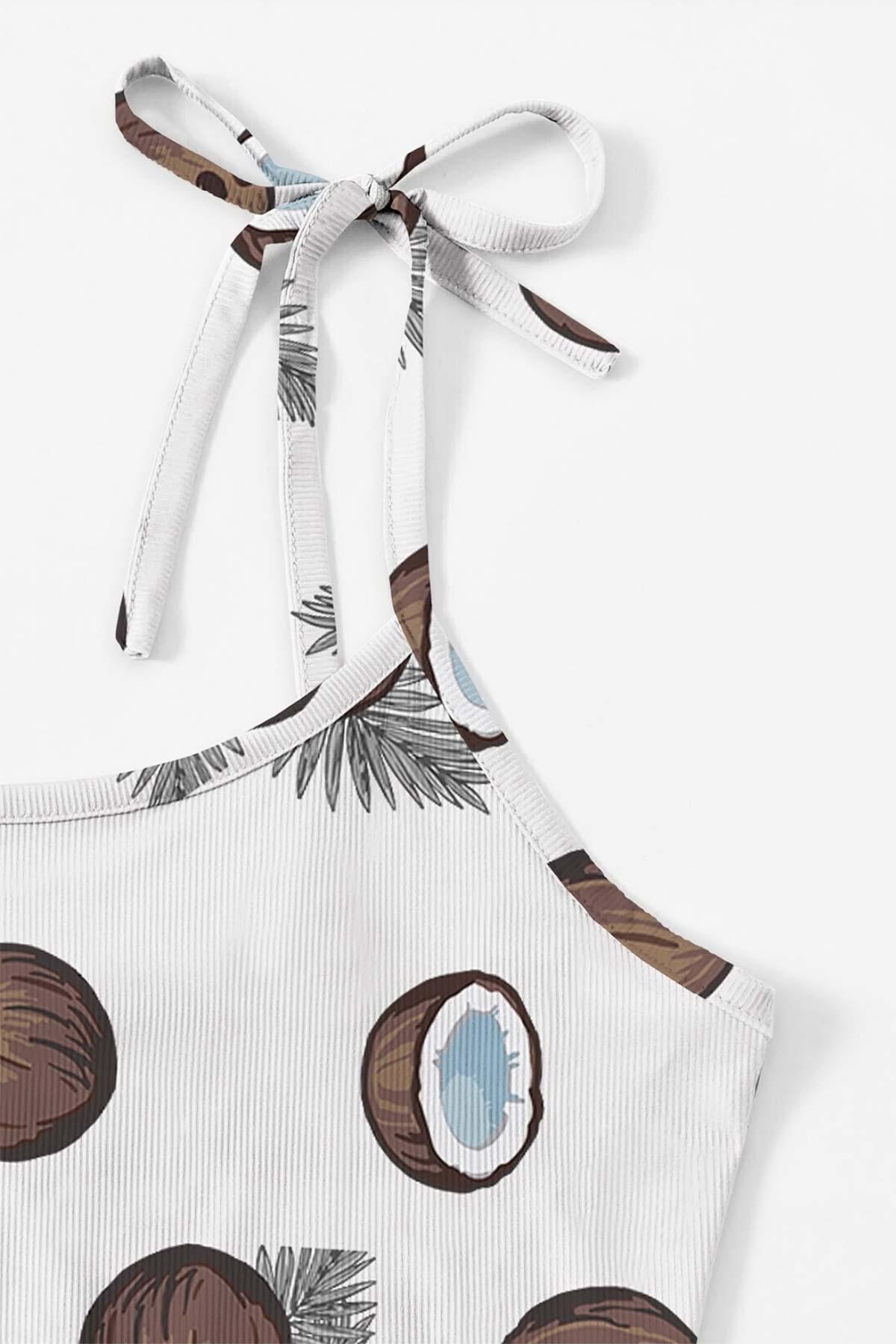 ÇeyizeDairHerşey - Hindistan cevizi desenli penye omuzdan bağlamalı şort takım 5524 (1)