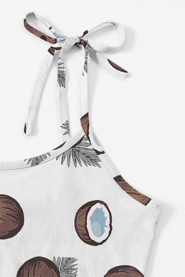 Hindistan cevizi desenli penye omuzdan bağlamalı şort takım 5524