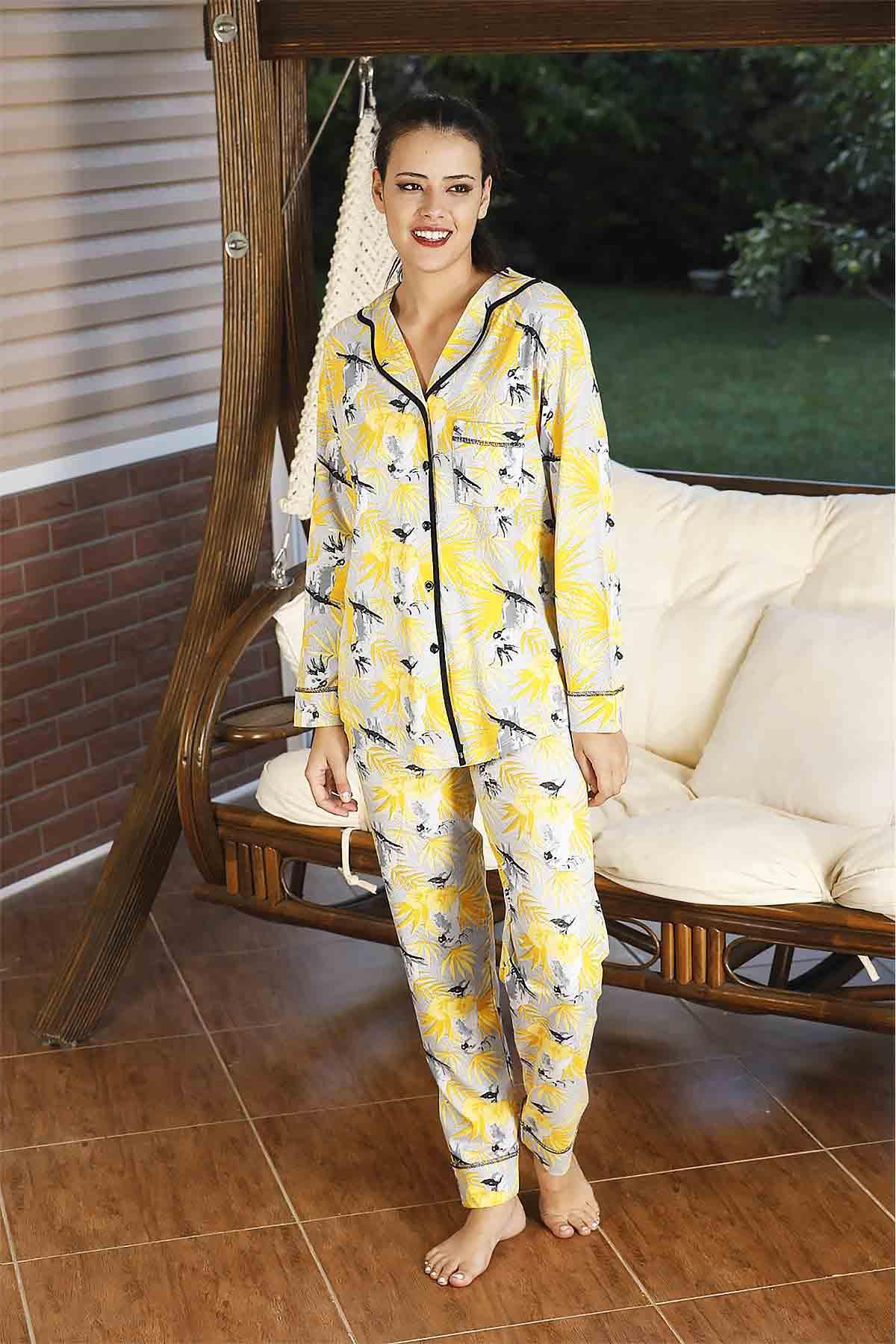 ÇeyizeDairHerşey - Sarı yapraklı önden düğmeli pijama takımı (1)
