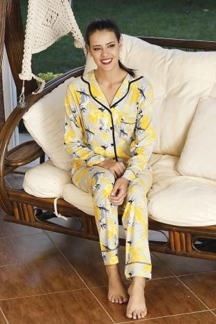 ÇeyizeDairHerşey - Sarı yapraklı önden düğmeli pijama takımı