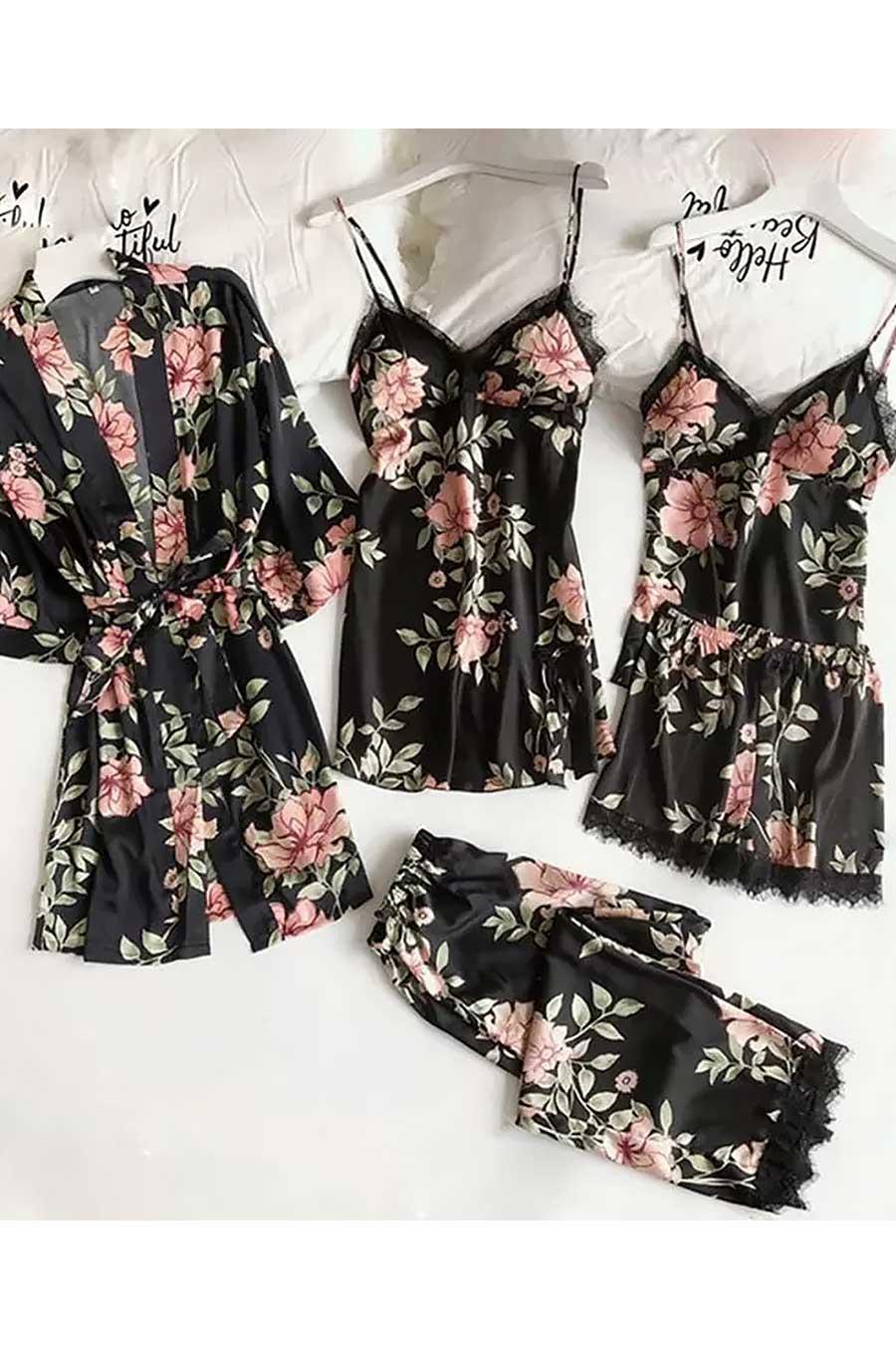 ÇeyizeDairHerşey - Siyah Çiçek desenli saten sabahlıklı şortlu 5 li pijama seti 5374
