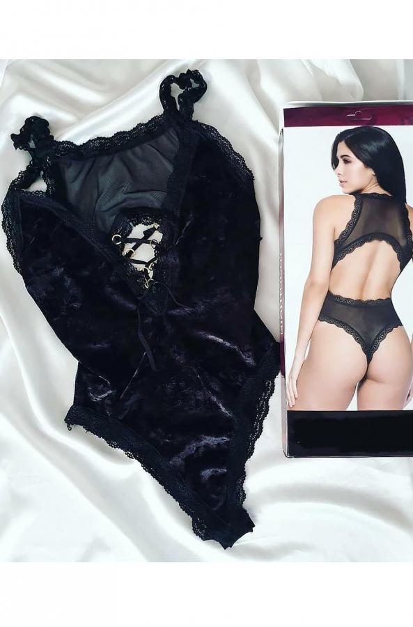 Siyah dantelli parlak kadife body suit 5379