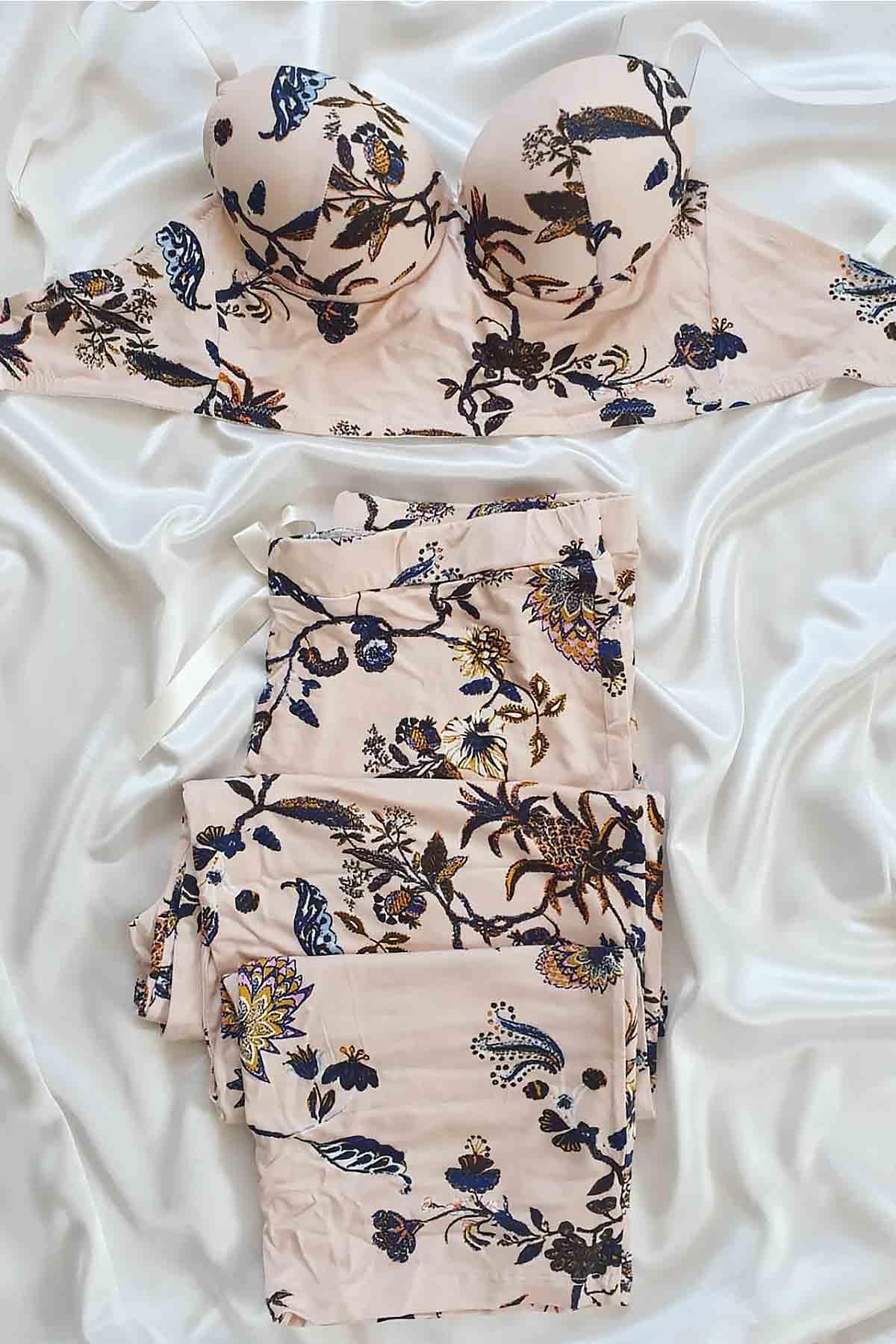 ÇeyizeDairHerşey - Ten rengi çiçek desenli büstiyerli pijama takımı