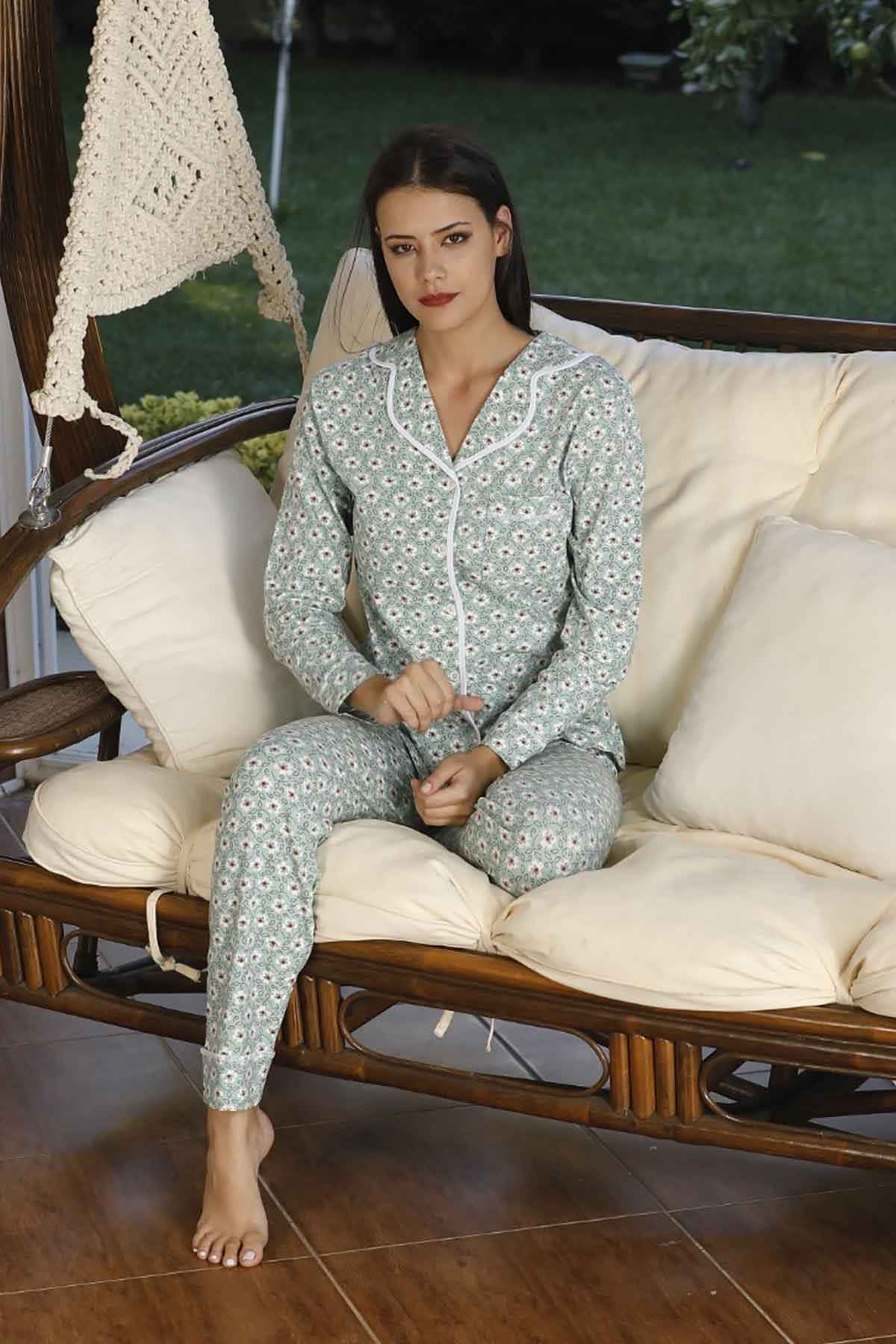 ÇeyizeDairHerşey - Yeşil çiçek desenli uzun kollu önden düğmeli bayan pijama takımı 5781